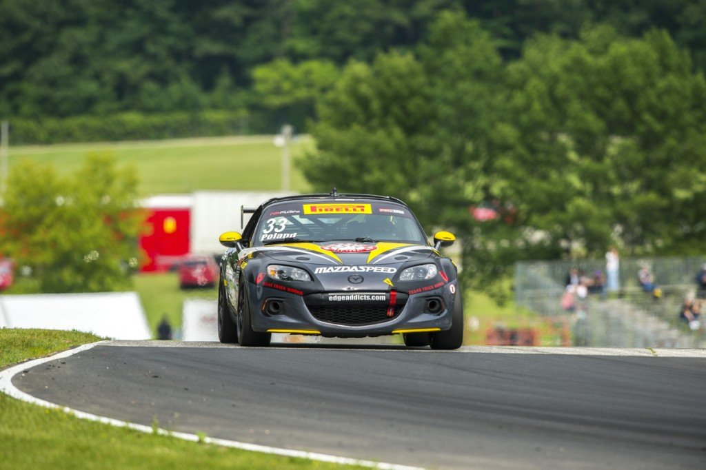 Elkhart Lake, WI - Jun 26, 2015: Pirelli World Challenge teams take to the track on Pirelli tires for a practice session for the Pirelli World Challenge at Road America in Elkhart Lake, WI.