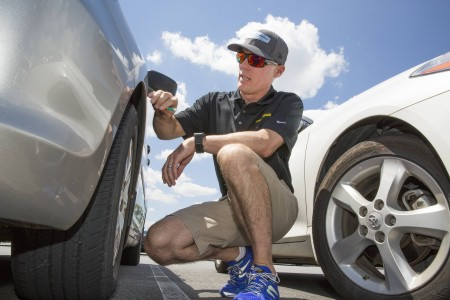 Goodyear and NASCAR Champion Kevin Harvick Conduct Surprise Tread Depth Checks