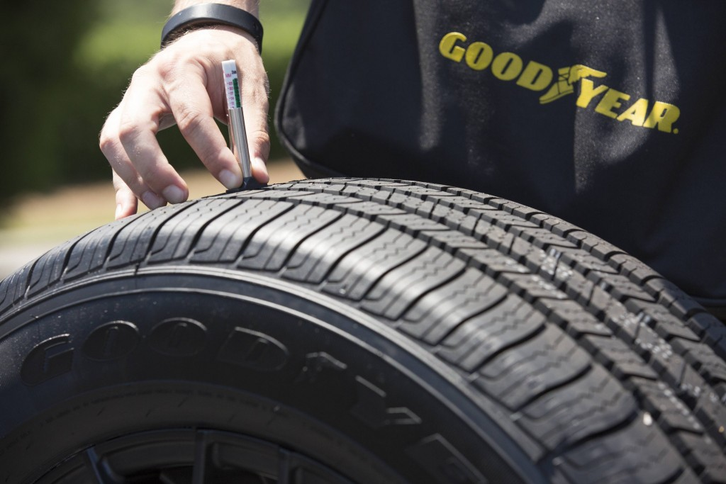 Racing toward Memorial Day Weekend, the unofficial start of the summer driving season, the Goodyear Tire & Rubber Company and NASCAR champion Kevin Harvick, provided free tire checks to consumers at the Concord Mills Mall in Concord, NC to help prepare them leading into National Tire Safety Week. (Jason E. Miczek/AP Images for Goodyear)